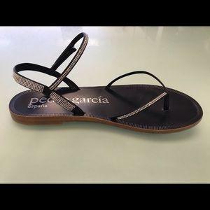 Black Pedro Garcia, Swarovski trim strap sandals